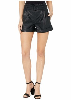 Blank Faux Leather Belted Shorts in Sinister