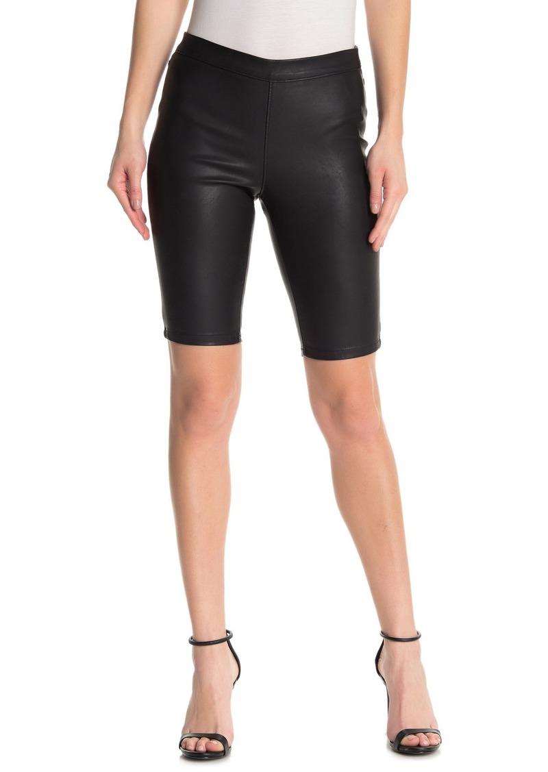 Blank Faux Leather Biker Shorts