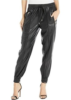 Blank Faux Leather Drawstring Jogger w/ Zipper Pockets in Running Wild