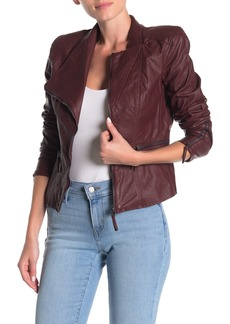 Blank Faux Leather Fitted Moto Jacket
