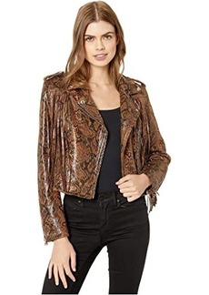 Blank Faux Leather Snakeskin Fringe Jacket in Word Of Mouth