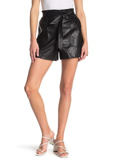 Blank Faux Leather Tie Waist Shorts