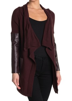 Blank Faux Leather Trim High/Low Cardigan