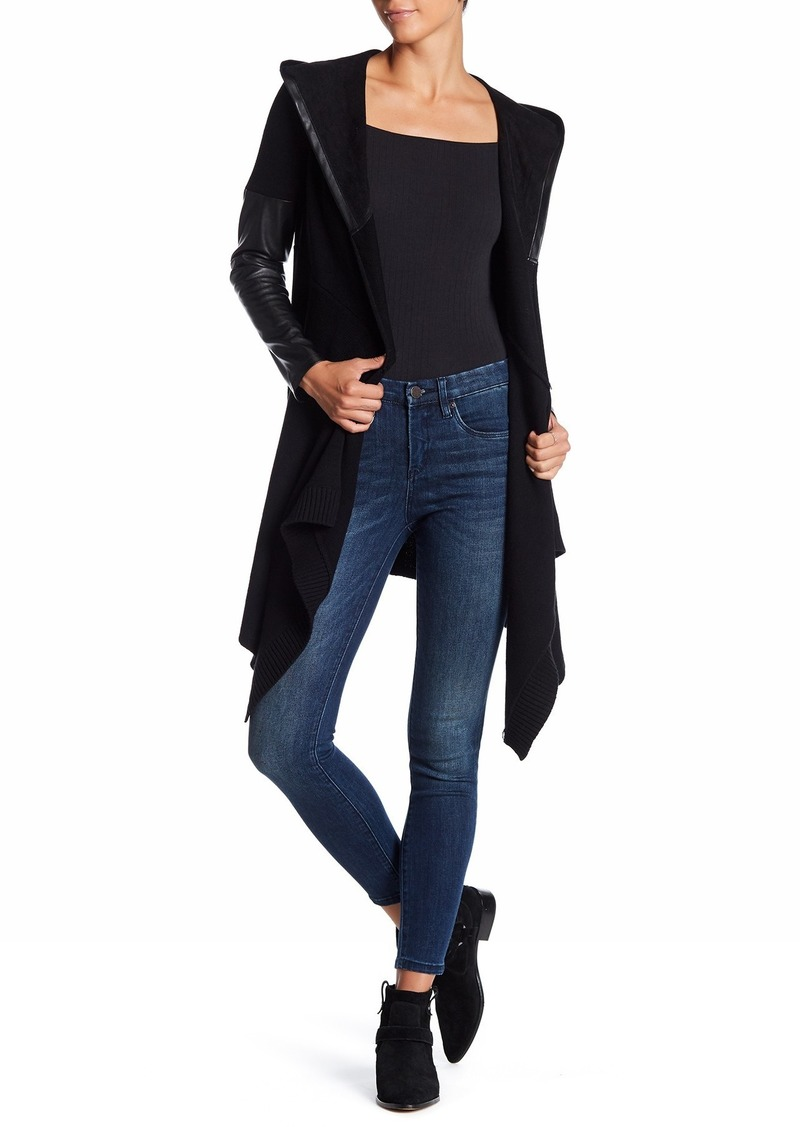 Blank Faux Leather Trim Long Hooded Jacket