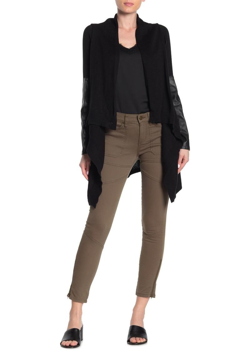 Blank Faux Leather Trim Shawl Collar Knit Jacket
