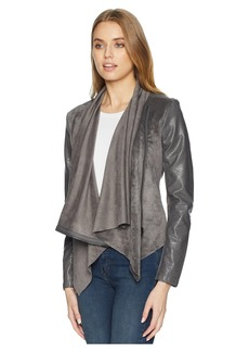 Blank Faux Suede Drape Front Jacket in Charcoal Grey