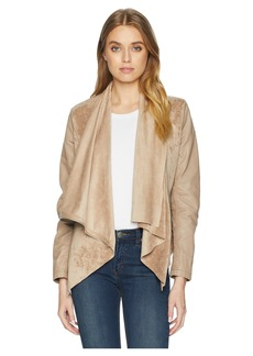 Blank Faux Suede Drape Front Jacket in Hump Day