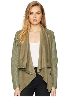 Blank Faux Suede Drape Front Jacket in Olive