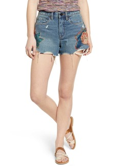 Blank Floral Applique Distressed Denim Shorts (Wild Flower)