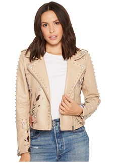 Blank Floral Embroidered Studded Moto Jacket in Natural Romance