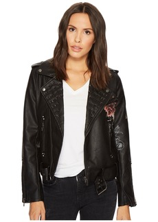 Blank Floral Vegan Leather Moto Jacket in Love and Leave