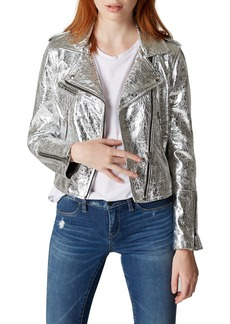Blank Foiled Faux-Leather Moto Jacket