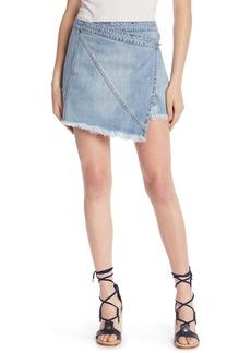 Blank Fray Hem Wrap Denim Skirt