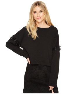 Blank French Terry Long Sleeve with Beaded Fringe in Dark Star
