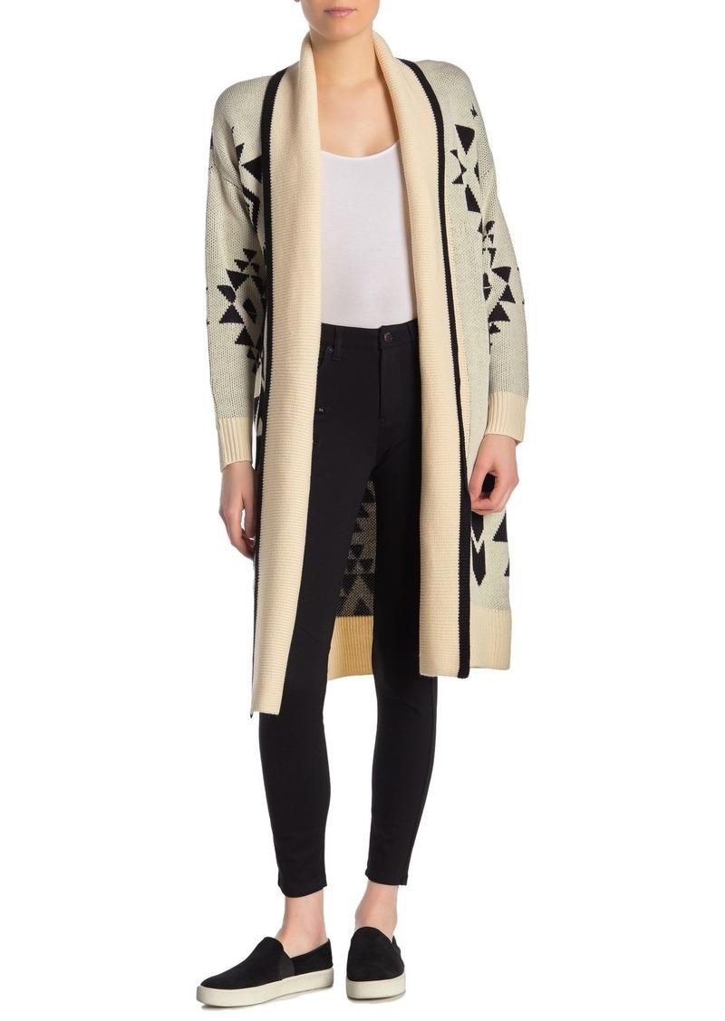 Blank Geometric Shawl Collar Cardigan
