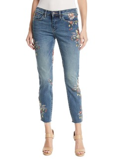 Blank Green Thumb Floral-Embroidered Skinny Cropped Jeans