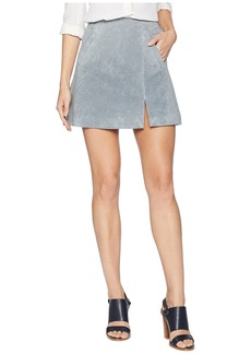 Blank Grey Suede Mini Skirt with Side Slit in London Fog