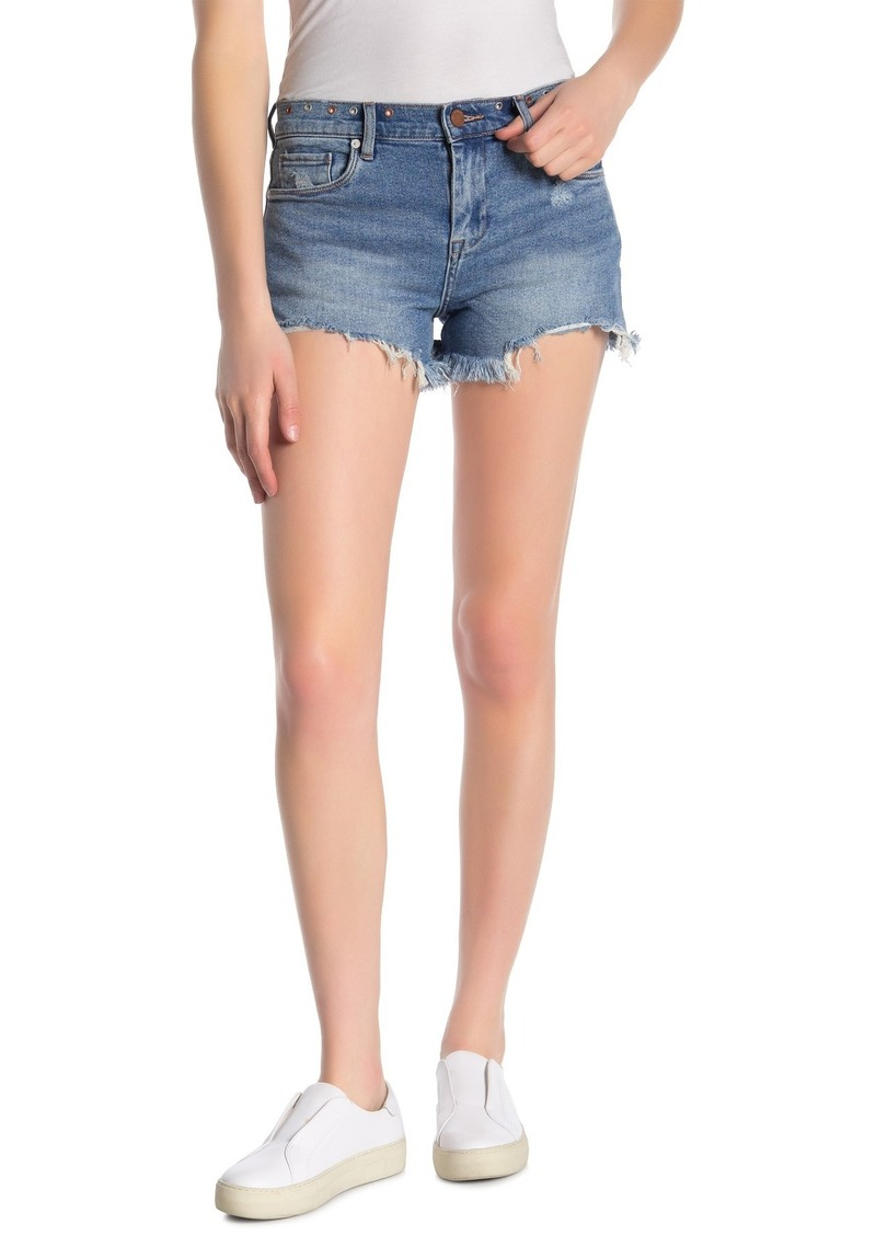 Blank Grommet Trimmed Frayed Denim Shorts