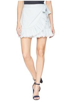 Blank Hi Rise Ruffle Mini Skirt in Cloud Cover