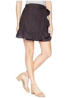 Blank Hi Rise Ruffle Mini Skirt in Earl Grey