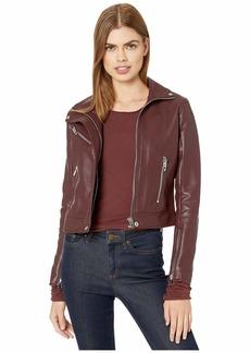 Blank High Collar Vegan Leather Moto Jacket in Merlot