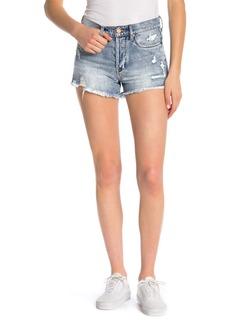 Blank High-Rise Distressed Denim Shorts
