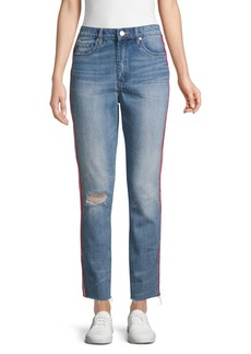 Blank High-Rise Distressed Tapered Jeans