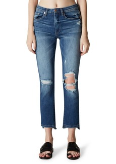 Blank High-Rise Ripped-Knee Faded Skinny Jeans
