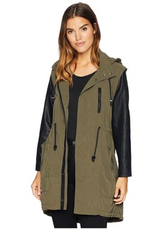 Blank Hooded Olive Green and Vegan Leather Sleeves Jacket in Similar, But Different