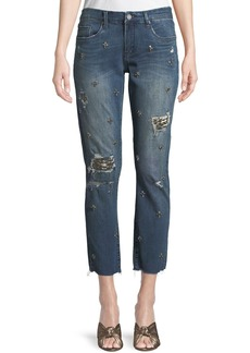 Blank Jeweled Ripped Straight-Leg Jeans