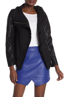 Blank Knit Moto Faux Leather Sleeve Jacket