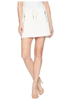 Blank Lace-Up A Line Skirt in Neutral Ground