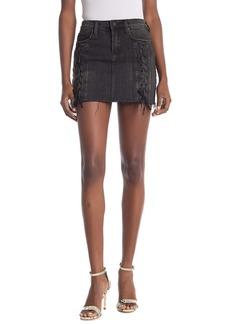 Blank Lace-Up Denim Mini Skirt