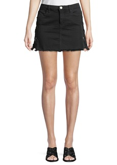 Blank Lace-Up Front-Zip Denim Skirt