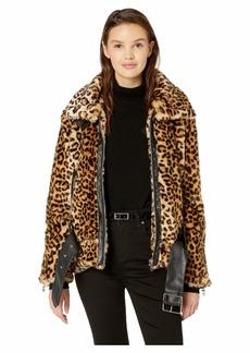 Blank Leopard Faux Fur Jacket with Belt in Note To Self