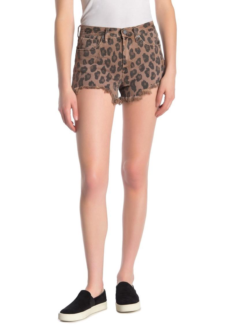 Blank Leopard Print Denim Shorts
