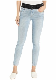 Blank Light Indigo & Washed Black Two-Tone High-Rise Jeans in Aquarius