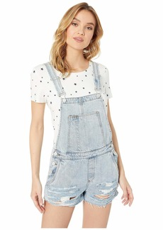Blank Light Wash Distressed Overalls in Acid Trip