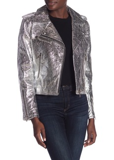 Blank Metallic Faux Leather Moto Jacket
