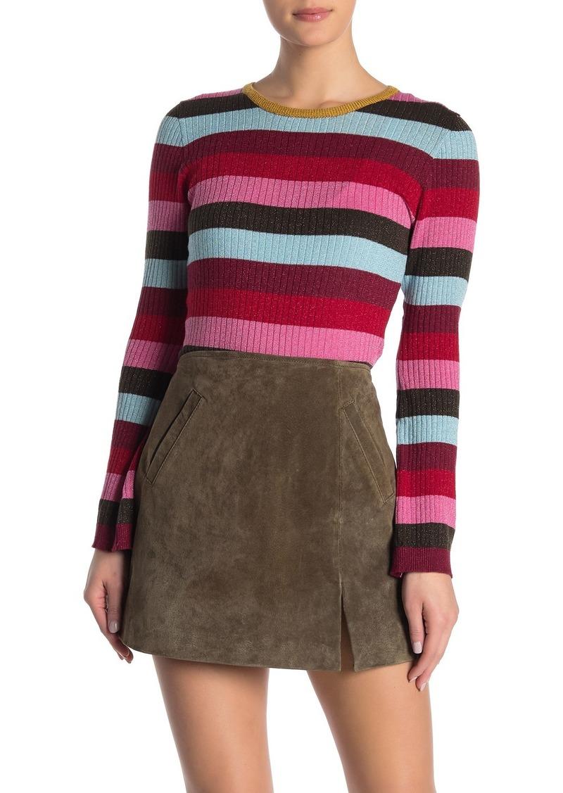 Blank Metallic Stripe Rib Knit Sweater