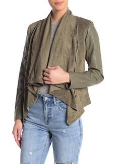 Blank Mixed Media Faux Leather Drape Front Jacket