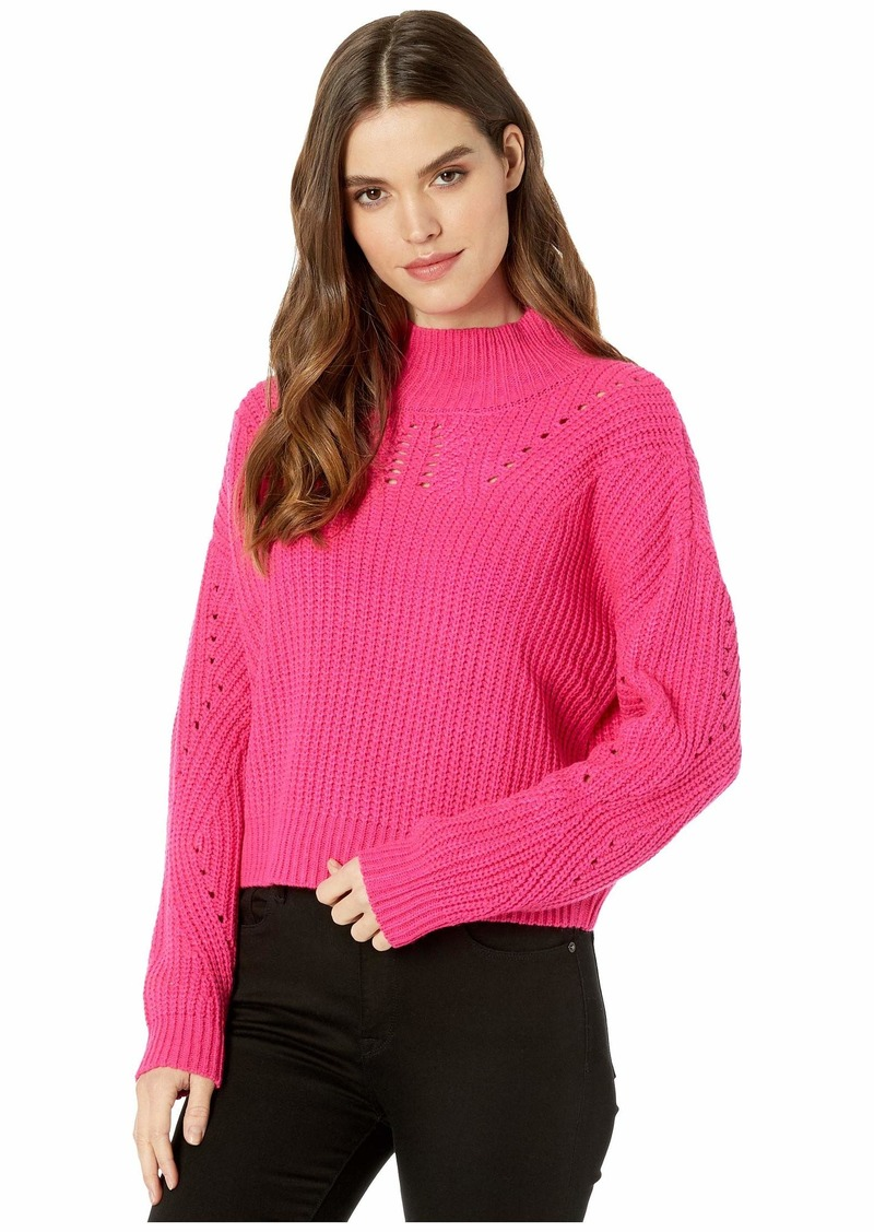 Blank Mock Neck Sweater in Pink Cadillac