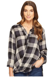 Blank Multi Plaid Drape Front Shirt in Black Watch