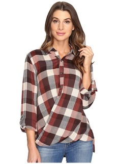 Blank Multi Plaid Drape Front Shirt in Whiskey Brown