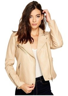 Blank Natural Vegan Leather Moto Jacket in Natural Light