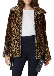 Blank Note To Self Leopard-Print Faux-Fur Jacket