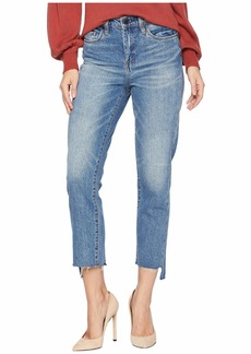 Blank Novelty Denim with Color Block Back Detail and Cut Off Hem in Cinderella Story