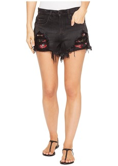 Blank Novelty Shorts with Detailed Patchwork in Rock Steady