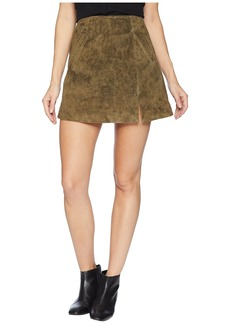 Blank Olive Green Mini Skirt with Side Slit in Bank Roll