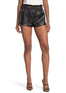 Blank Paperbag Waist Faux Leather Shorts